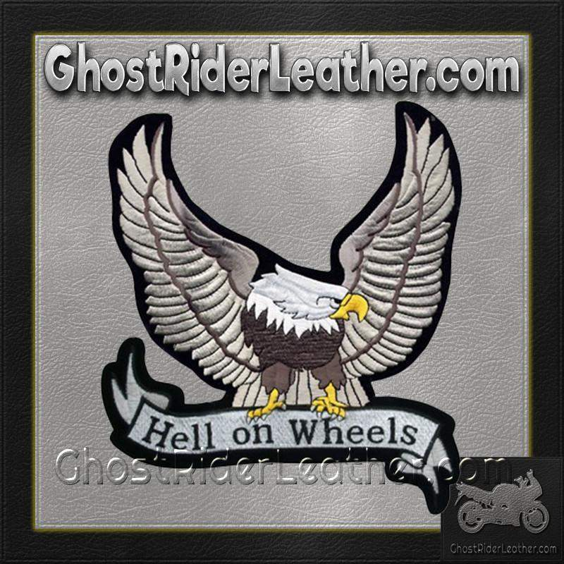 Silver Eagle with Hell On Wheels Banner Patch / SKU GRL-PAT-A25-DL - Ghost Rider Leather