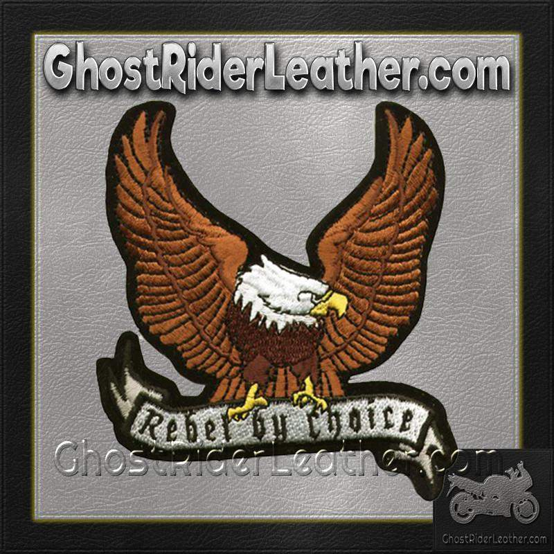 Brown Eagle with Rebel By Choice Banner Patch / SKU GRL-PAT-A28-DL - Ghost Rider Leather