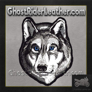 Large Wolf Head with Blue Eyes Patch / SKU GRL-PAT-A47-DL - Ghost Rider Leather