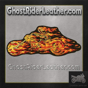 Flaming Skull Skeleton Flames Rider Patch / SKU GRL-PAT-A49-DL-biker patch-Ghost Rider Leather