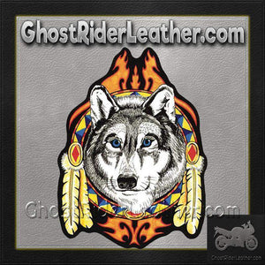 Large Wolf Head with Feathers and Blue Eyes Patch / SKU GRL-PAT-A50-DL-military patch-Ghost Rider Leather