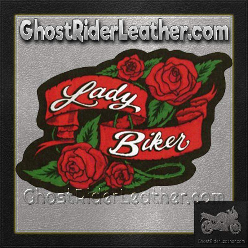 Ladies Lady Biker With Roses Patch / SKU GRL-PAT-A57-DL - Ghost Rider Leather
