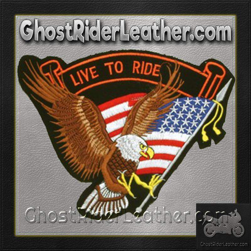Eagle with USA Flag and Live To Ride Banner Patch / SKU GRL-PAT-B108-DL-biker patch-Ghost Rider Leather
