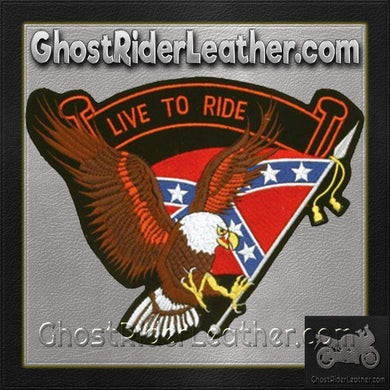 Eagle with Rebel Flag and Live To Ride Banner Patch / SKU GRL-PAT-B109-DL - Ghost Rider Leather