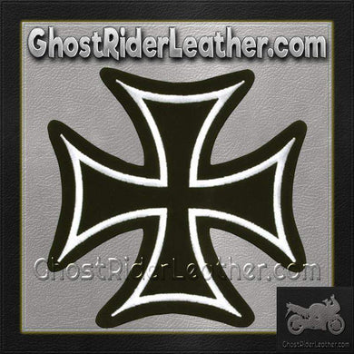 Iron Cross With White Border Patch / SKU GRL-PAT-C201-DL-biker patch-Ghost Rider Leather