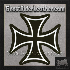 Iron Cross With White Border Patch / SKU GRL-PAT-B125-DL - Ghost Rider Leather