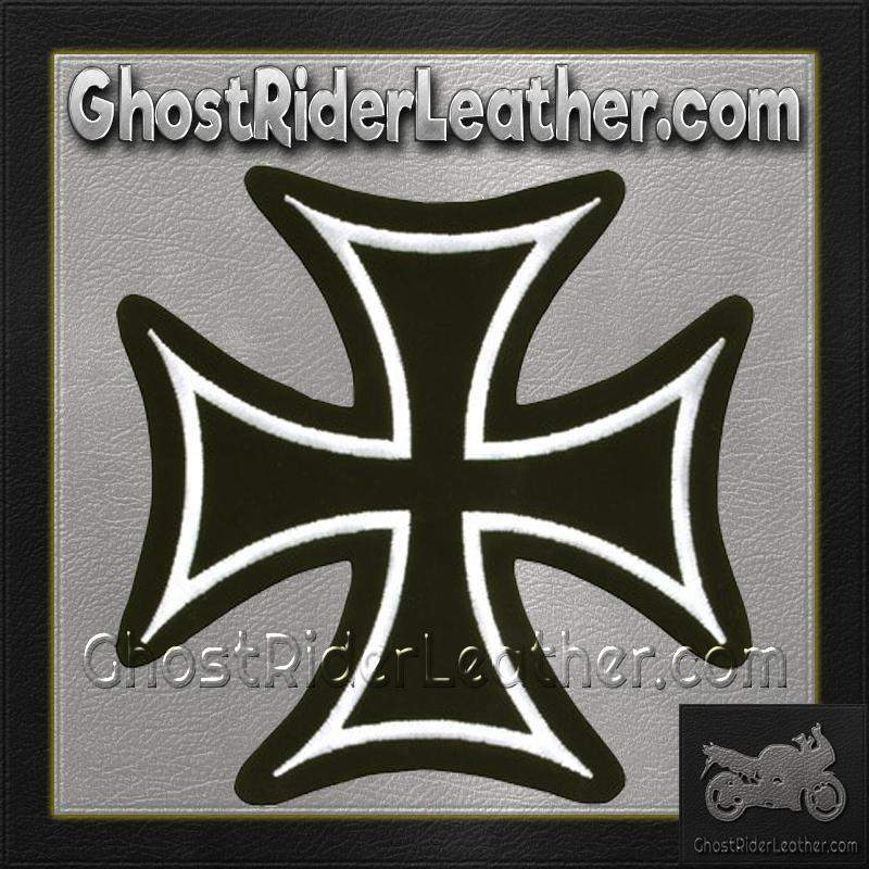 Iron Cross With White Border Patch / SKU GRL-PAT-B125-DL-biker patch-Ghost Rider Leather