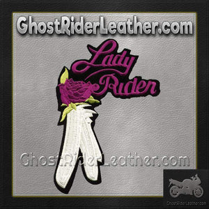 Ladies Lady Rider With Purple Rose Patch / SKU GRL-PAT-C207-DL - Ghost Rider Leather