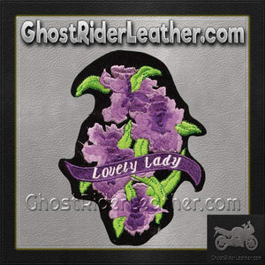 Ladies Lovely Lady Rider With Purple Flowers Patch / SKU GRL-PAT-C208-DL - Ghost Rider Leather