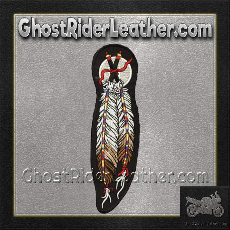 Dual Feather Motorcycle  Patch / SKU GRL-PAT-C209-DL - Ghost Rider Leather