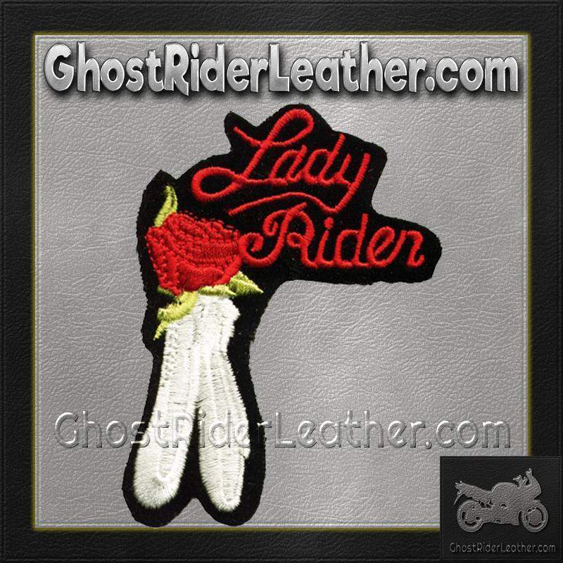 Ladies Lady Rider With Red Rose Patch / SKU GRL-PAT-C210-DL-military patch-Ghost Rider Leather