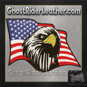 American Flag With An Eagle Head Patch / SKU GRL-PAT-C213-DL - Ghost Rider Leather