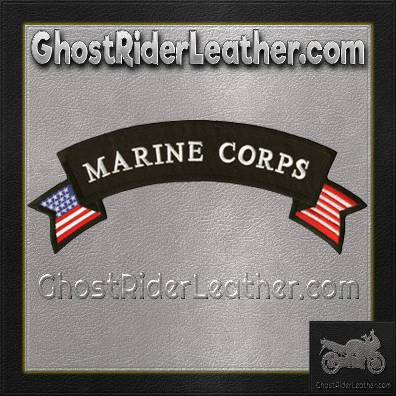 Marine Corp American Flag Banner Patch / SKU GRL-PAT-C217-DL - Ghost Rider Leather