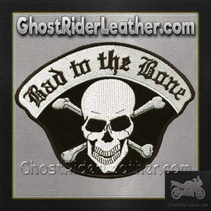 Bad To The Bone Skull Crossbones Patch / SKU GRL-C221-DL-biker patch-Ghost Rider Leather