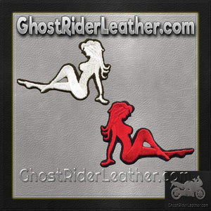 Two Sexy Mudflap Girl Patches in Red and White / SKU GRL-PAT-D525-D524-DL - Ghost Rider Leather