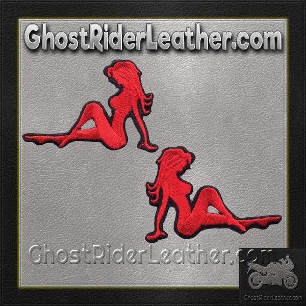 Two Sexy Mudflap Girl Patches in Red / SKU GRL-PAT-D525-D526-DL-military patch-Ghost Rider Leather