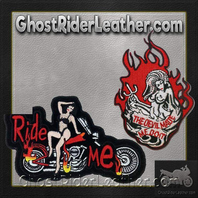 Two Ride Me and Devil Made Me Do It Patches / SKU GRL-PAT-D560-D669-DL-military patch-Ghost Rider Leather