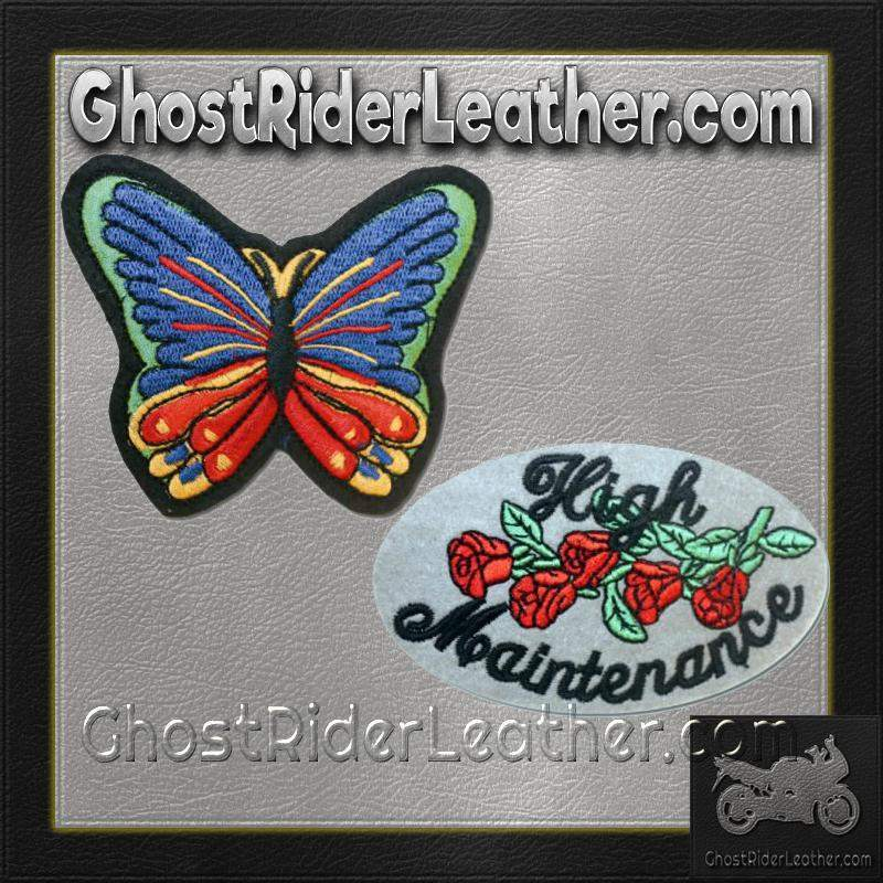 High Maintenance Patch and Butterfly Patches / SKU GRL-PAT-D612-D614-DL-military patch-Ghost Rider Leather