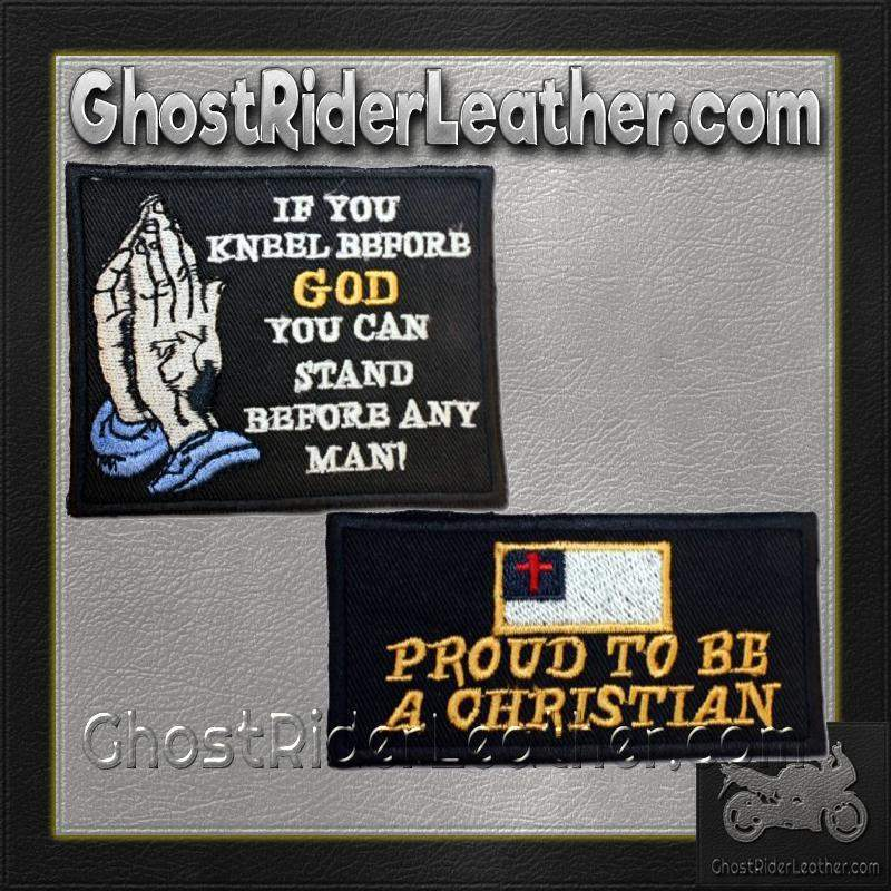 Two Christian Patches With Proud To Be Christian / SKU GRL-PAT-D601-D607-DL-military patch-Ghost Rider Leather