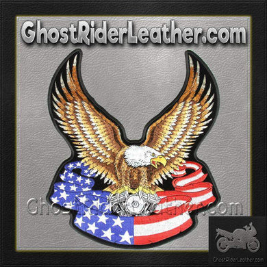 Eagle with V-Twin and American Flag Banner Vest Patch - Small - SKU GRL-PPA1092-HI - Ghost Rider Leather