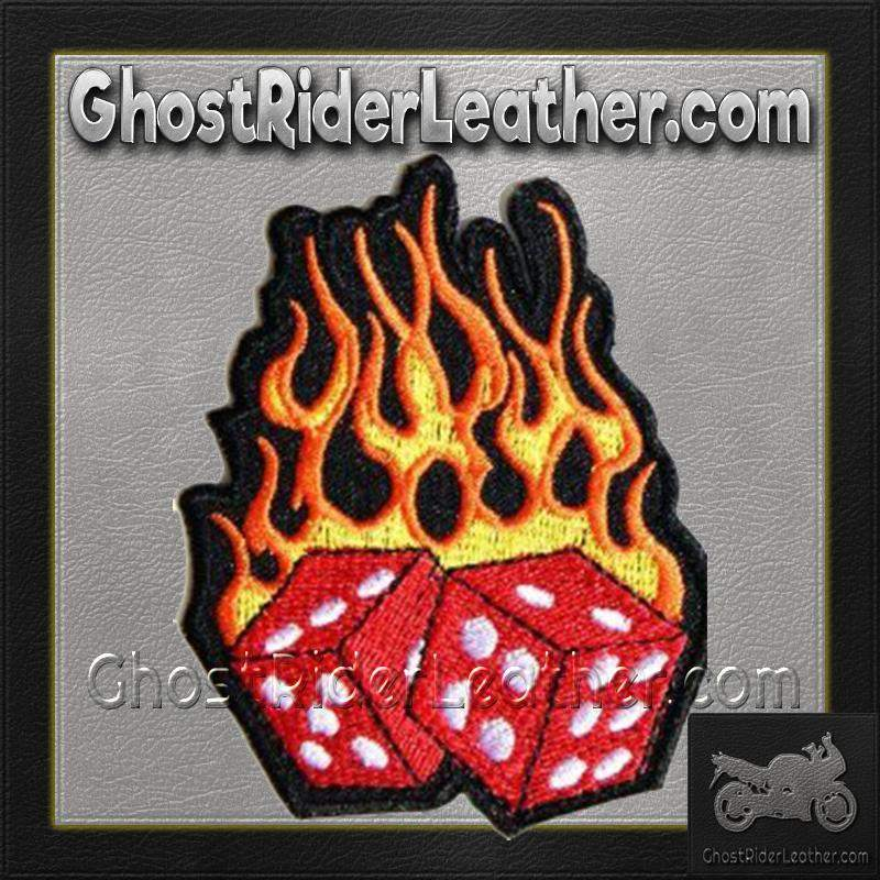 Flaming Dice Vest Patch - SKU GRL-PPA1212-HI-biker patch-Ghost Rider Leather