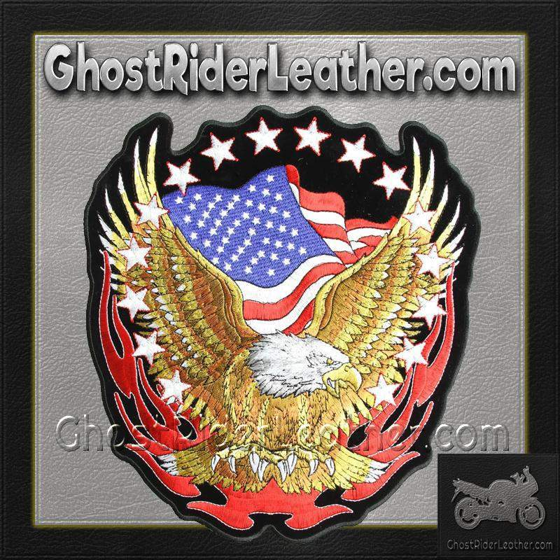 Eagle with American Flag and Stars Vest Patch - SKU GRL-PPA1427-HI-biker patch-Ghost Rider Leather