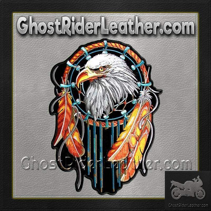Eagle With Feathers Dream Catcher Vest Patch - SKU GRL-PPA6834-HI - Ghost Rider Leather