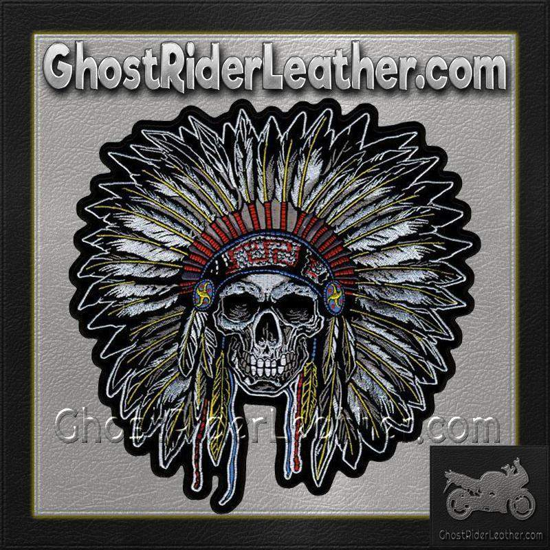 Full Headdress with Skull Vest Patch - SKU GRL-PPA7503-HI-biker patch-Ghost Rider Leather