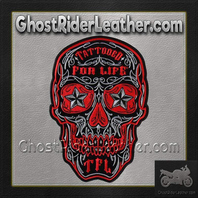 Skull With Tattooed For Life TFL Vest Patch - SKU GRL-PPA8000-HI-biker patch-Ghost Rider Leather