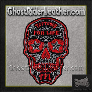 Skull With Tattooed For Life TFL Vest Patch - SKU GRL-PPA8000-HI - Ghost Rider Leather