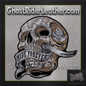 Skull With Ride Forever Banner Vest Patch - SKU GRL-PPA8283-HI - Ghost Rider Leather