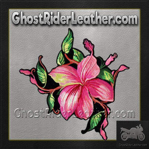 Pink Flower Vest Patch - SKU GRL-PPA8290-HI - Ghost Rider Leather