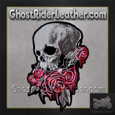 Bleeding Rose Skull Vest Patch - SKU GRL-PPA8310-HI - Ghost Rider Leather