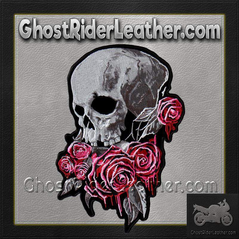 Bleeding Rose Skull Vest Patch - SKU GRL-PPA8310-HI-biker patch-Ghost Rider Leather