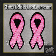 Two Pink Cancer Awareness Ribbon Patches - SKU GRL-PPG1002-X2-HI - Ghost Rider Leather