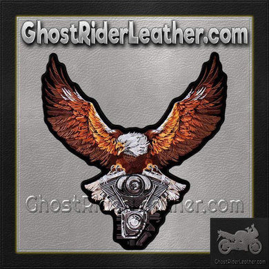Storm Clouds Eagle with V-Twin Engine Vest Patch - Small - SKU GRL-PPA8224-HI - Ghost Rider Leather