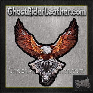 Storm Clouds Eagle with V-Twin Engine Vest Patch - Small - SKU GRL-PPA8224-HI-biker patch-Ghost Rider Leather