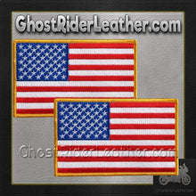 TWO American Flag Patches - Small - SKU GRL-PPA1221-X2-HI - Ghost Rider Leather