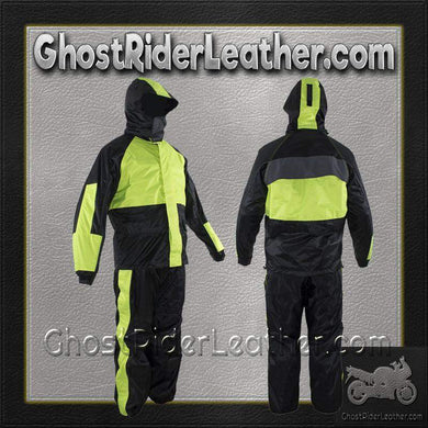 Motorcycle Biker Two Piece Fluorescent Rain Suit With Hoodie / SKU GRL-RS26-HOODIE-DL - Ghost Rider Leather