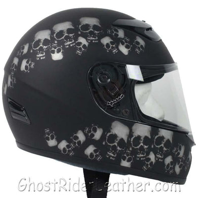 DOT Full Face Skull Pile Motorcycle Helmet / SKU GRL-RZ80SP-HI - Ghost Rider Leather
