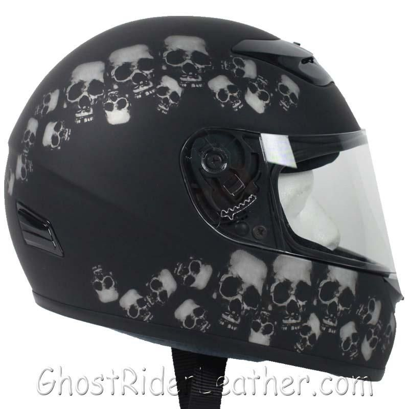 DOT Full Face Skull Pile Motorcycle Helmet / SKU GRL-RZ80SP-HI-motorcycle helmet-Ghost Rider Leather