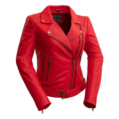 Chloe - Women's Red Fire Leather Motorcycle Jacket - Other Colors - WBL1384 - Ghost Rider Leather