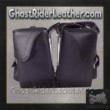 Black PVC Motorcycle Slanted Saddlebags with Pockets / SKU GRL-SD4085-NS-PV-DL-saddlebags-Ghost Rider Leather