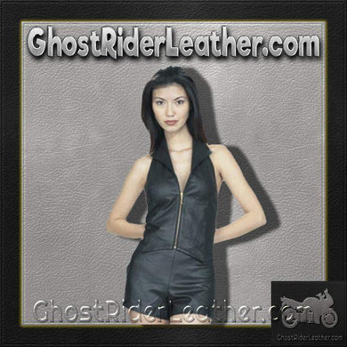 Ladies Leather Shorts With Option Of Leather Zipper Top - SKU GRL-SK955-SK962-DL-Ladies Vest-Ghost Rider Leather