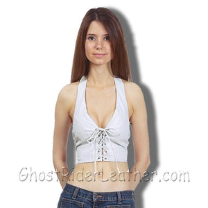 Ladies White Leather Halter Top With Leather Laces Front Closure - SKU GRL-SK992-DL - Ghost Rider Leather