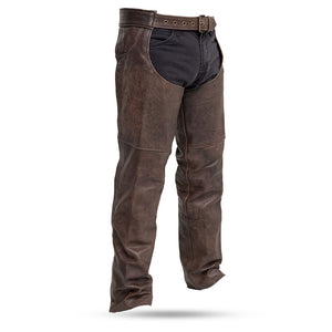 Stampede Brown Leather Chaps for Men or Women - SKU GRL-FIM835CAN-FM - Ghost Rider Leather