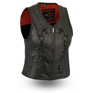 Stardom - Women's Leather Motorcycle Vest - FIL580CSL - Ghost Rider Leather