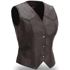 Sweet Sienna - Women's Leather Motorcycle Vest - SKU GRL-FML500CR-FM - Ghost Rider Leather
