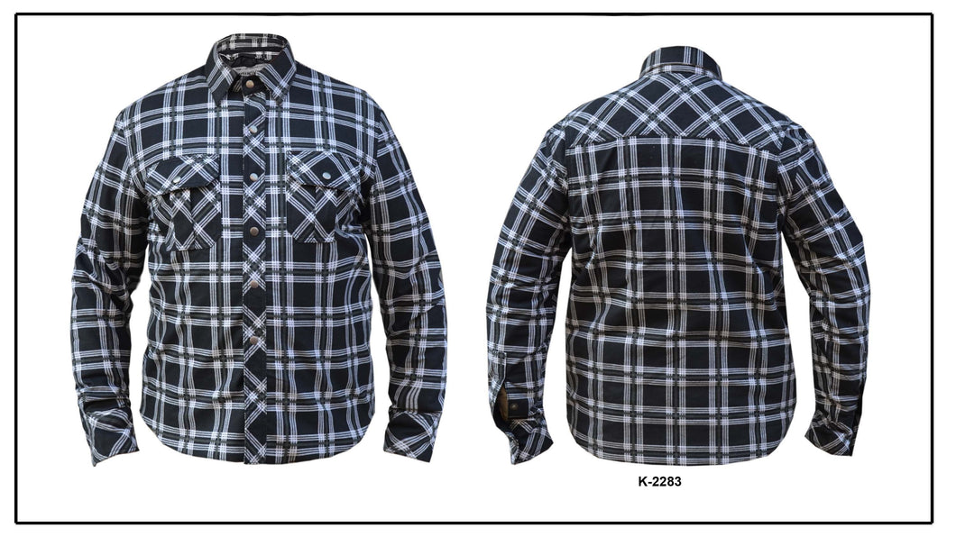 UNIK Men's Black / White Flannel Shirt - Ghost Rider Leather