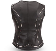 Taylor - Women's Studded Motorcycle Leather Vest - SKU GRL-FIL560NOC-FM - Ghost Rider Leather